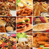stock photo of halibut  - Collage of pub food including cheese burgers - JPG