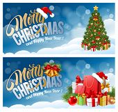 Постер, плакат: Christmas banners with Christmas tree Christmas gifts on snowy background Calligraphy lettering in
