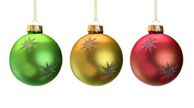 stock photo of christmas ornament  - Shiny Christmas ornaments isolated on white - JPG