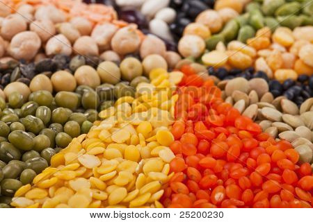 Colorful mix from different beans, legumes, peas, lentils