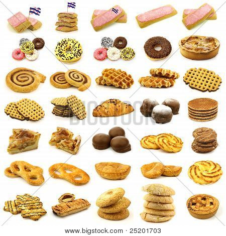collection of freshly baked cake,waffles,buns,rolls and other fresh pastry