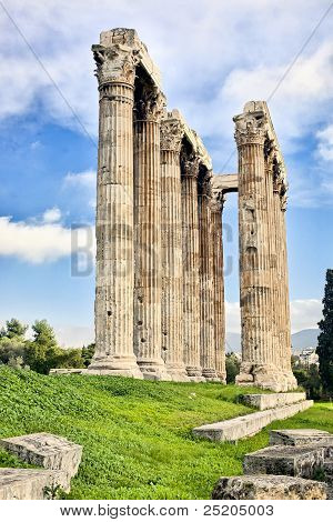 Columns Of Ancient Greek Temple Of Zeus In Athens