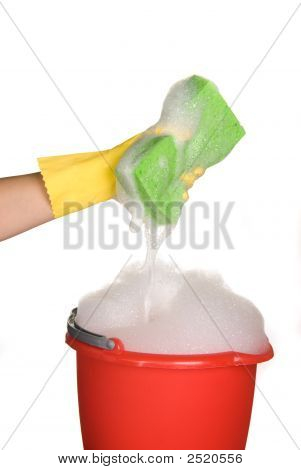 Sponge, Bucket And Soapy Water