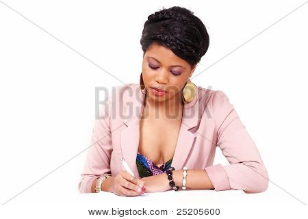 Woman Filling Form Or Contract