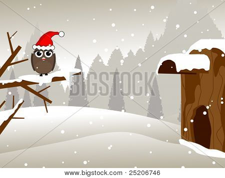 a owl sitting on dry tree branch with santa cap for Merry Christmas