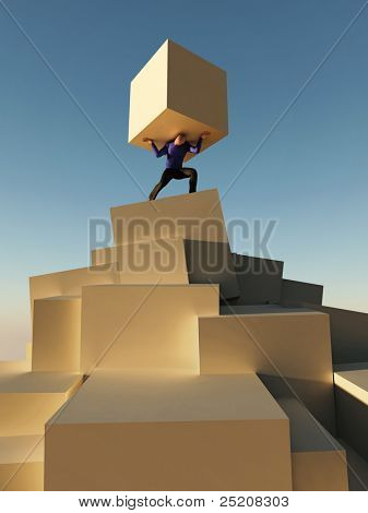 man holding cube on the top of pyramid
