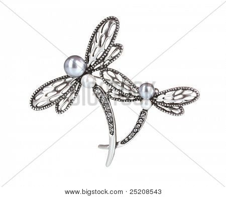 Beautiful silver brooch with precious stones isolated on white