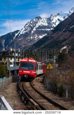 Narrow Gauge train passes through Chamonix, France