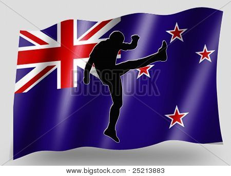 Country Flag Sport Icon Silhouette New Zealand Rugby High Kicker