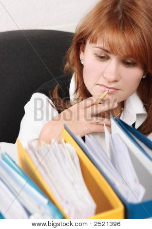 Woman In Office Search A File