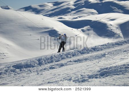 Snowboarder On The Mountain Stock Photo