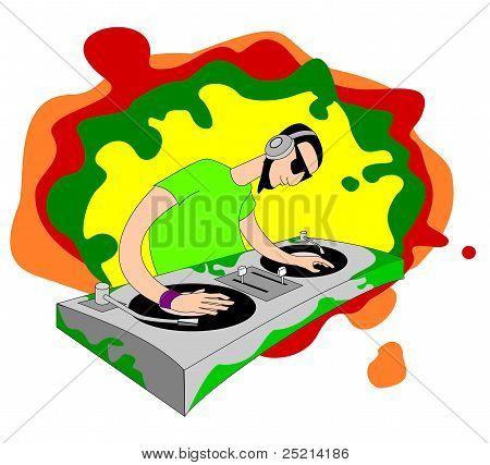 Cartoon acid DJ on set