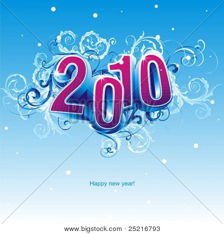 2010 new year composition. 3d vector design.