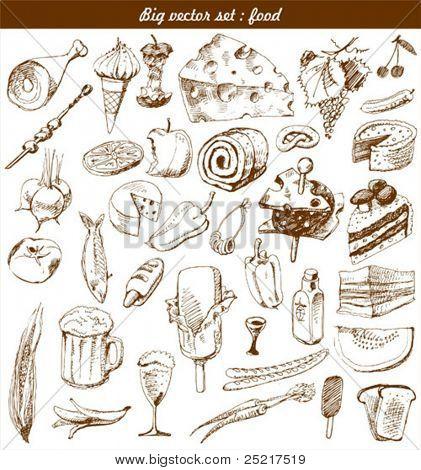 big vector set : doodle - food