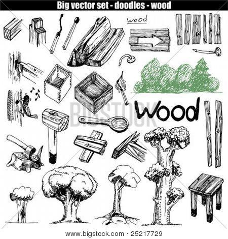 vector doodle set - wood