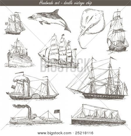 handmade work - vintage image - ship