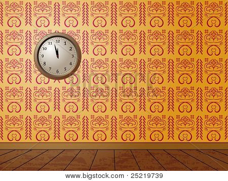 Clock on the wall covered with decorative wallpaper