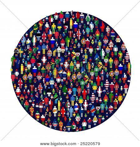 Círculo cheio de pessoas coloridas