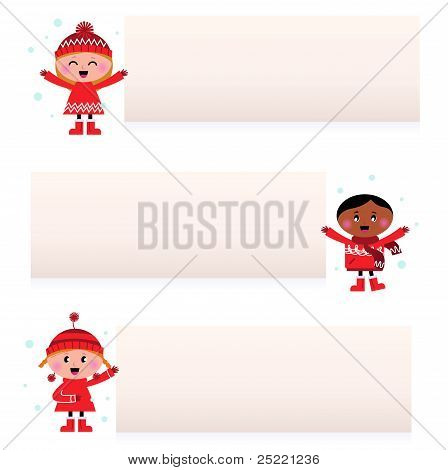 Hübsch multikulturellen Kinder mit leeren Banner, Isolated On White...