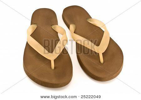 Pair Of Brown Rubber Flip Flop Sandals