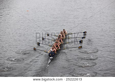 BOSTON - OCTOBER 23: B-Cc Crew Boosters youth men's Eights races in the Head of Charles Regatta. Mar