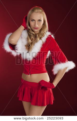 Pretty Girl Santa Claus Posing