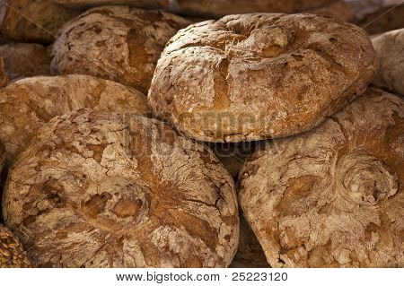 Bread loaves on market stall