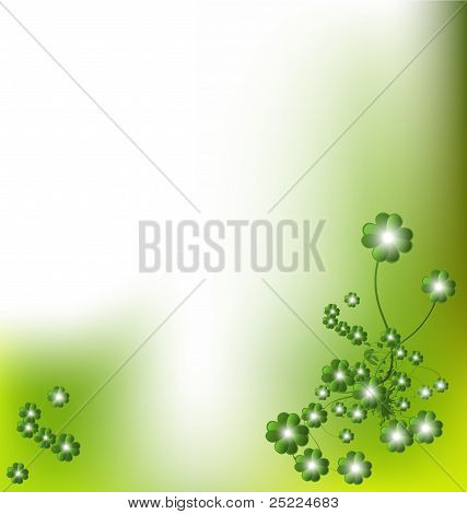 Green Floral Background With Lights