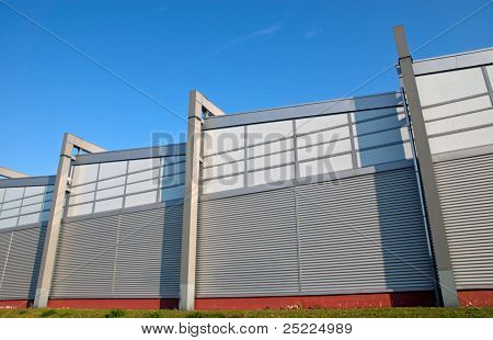 Modern facade of an industrial building