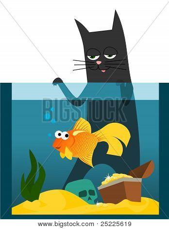Black cat and goldfish