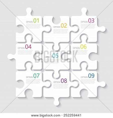 poster of Modern Abstract 3d Puzzle Infographic Template With Nine Steps Options. Business Concept Graph Templ