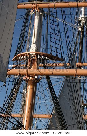 Rigging of the sails on an old ship