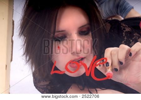 Gothic Girl Writing The Love Word