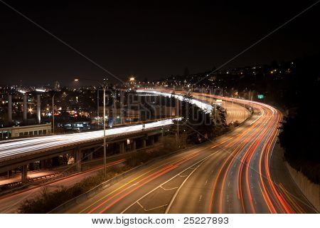 Seattle night scene with car light trails