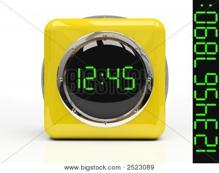 Yellow Watch Isolated On White Background 3D