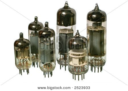 Set Of Varisized Old Vacuum Radio Tubes.