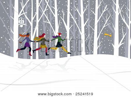 Christmas three girls running