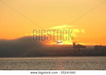 Burrard Inlet Floatplane at Sunrise, Vancouver