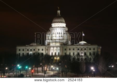 Rhode Island State Capital Building At Night