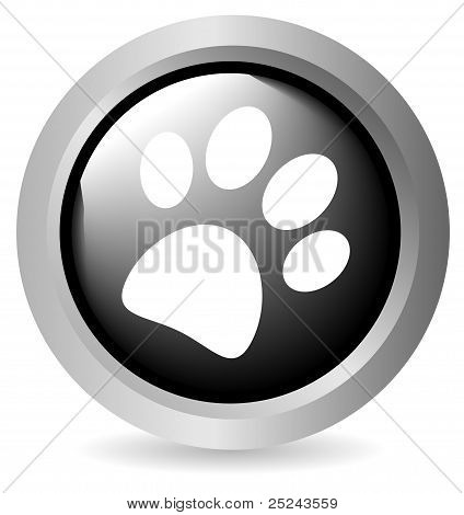 Paw button black