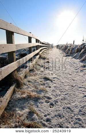 Frozen Snow Covered Path On Cliff Fenced Walk