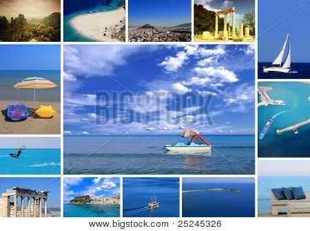 set of summer photos of Greece