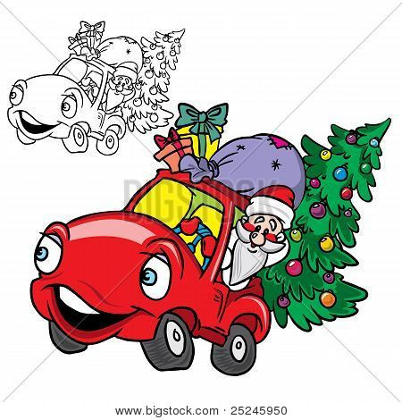Santa Claus in a car with Christmas tree
