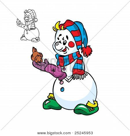 Happy snowman feeds the little bird