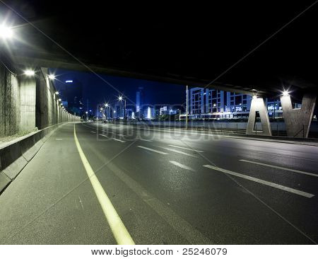 Empty freeway at night - This image was taken from three different shots