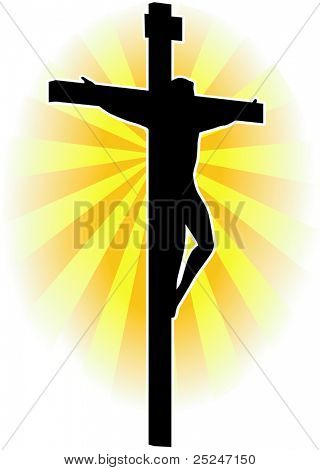 Silhouette vector of Jesus Christ on the Cross