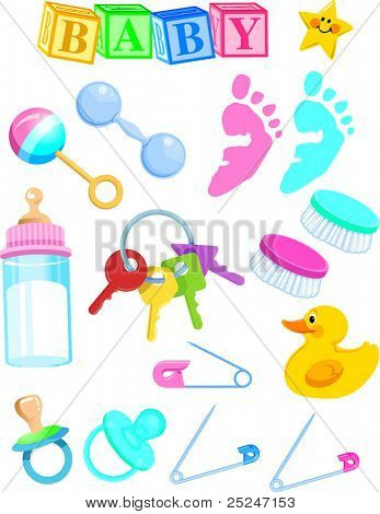 Vector Illustration of Baby Items