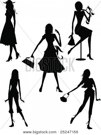 Silhouette grouping of Fashion girls posing. Vector Illustration