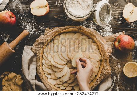 Cooking Apple Pie Hands Adding