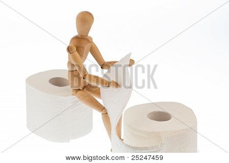 wooden figure on a roll toilet paper